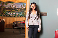 Socheata Mam, 19, is a first year student at Middlesex Community College studying Criminal Justice. A Cambodian-American, she is seen here outside the Asian American Connections Center on Thurs., Feb. 15, 2018. The Asian American Connections Center was established at the school using a federal grant in 2016 and serves as a focal point for the Asian community at the school, predominantly Cambodian, to gather, socialize, study, and otherwise take part in student life.
