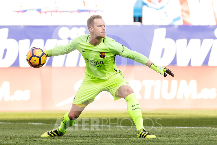 Marc-Andre Ter Stegen of Futbol Club Barcelona in action  during the match of Spanish La Liga between Atletico de Madrid and Futbol Club Barcelona at Vicente Calderon Stadium in Madrid, Spain. February 26, 2017. (ALTERPHOTOS)