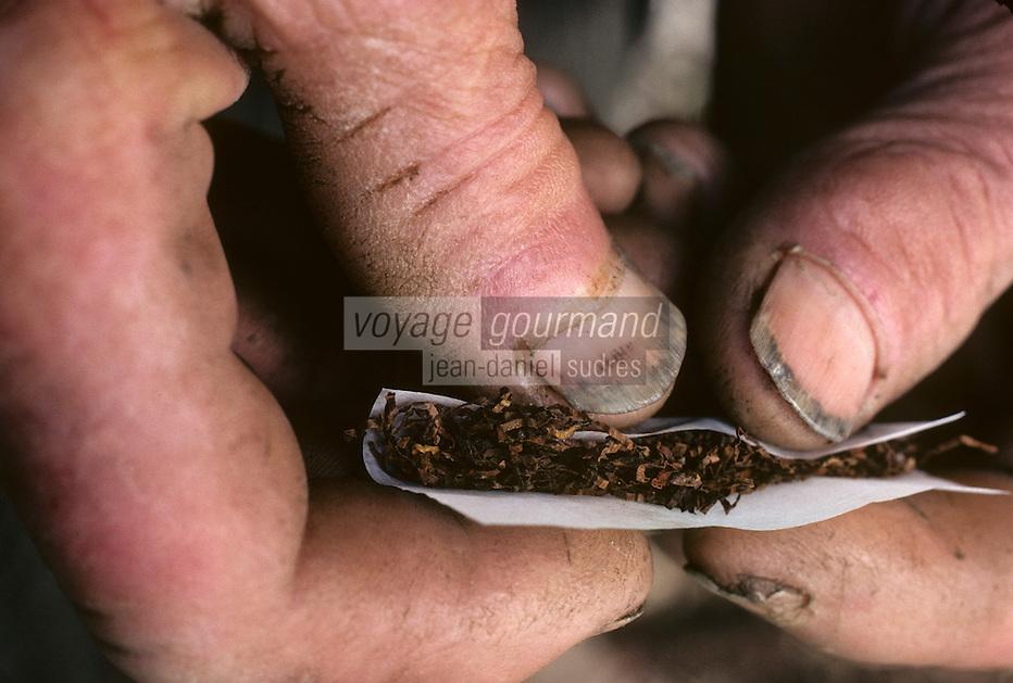 Europe/France/Auvergne/15/Cantal/env de Vic sur Cère: agriculteur roulant une cigarette de tabac gris [<br /> PHOTO D'ARCHIVES // ARCHIVAL IMAGES<br /> FRANCE 1980