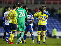 Blackburn Rovers' Bradley Dack embraces Reading's John Swift at the end of the match <br /> <br /> Photographer Andrew Kearns/CameraSport<br /> <br /> The EFL Sky Bet Championship - Reading v Blackburn Rovers - Wednesday 13th February 2019 - Madejski Stadium - Reading<br /> <br /> World Copyright © 2019 CameraSport. All rights reserved. 43 Linden Ave. Countesthorpe. Leicester. England. LE8 5PG - Tel: +44 (0) 116 277 4147 - admin@camerasport.com - www.camerasport.com