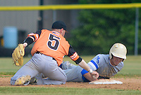 Somerville Central Jersey's Ethan Lott #5 attempt to tag out North Burlington's Brian Ford at second base in the  first inning at North Burlington High School Friday May 29, 2015 in Mansfield, New Jersey. North Burlington defeated Somerville Central Jersey 7-4 to win the Group 3 State Championship. (Photo by William Thomas Cain/Cain Images)