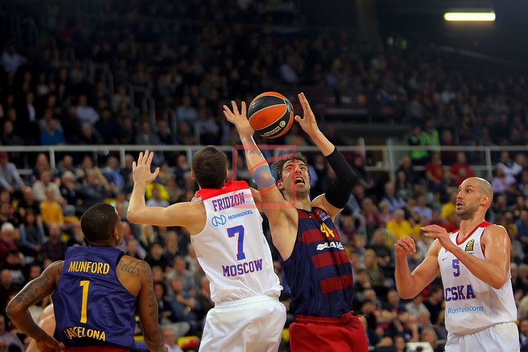 Turkish Airlines Euroleague 2016/2017.<br /> Regular Season - Round 24.<br /> FC Barcelona Lassa vs CSKA Moscow: 61-85.<br /> Xavier Munford, Vitaly Fridzon, Ante Tomic &amp; James Augustine.