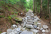 July 2012 - Stone steps along the Mt Tecumseh Trail in Waterville Valley, New Hampshire. Less than one year after being built this length of staircase is falling apart and erosion is visible on the hillside (left).