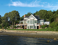 The house has access to its own private beach on Narragansett Bay, Rhode Island