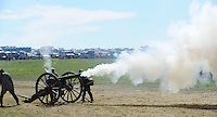 NWA Democrat-Gazette/ANDY SHUPE<br /> A cannon is fired Saturday, Sept. 26, 2015, during a re-enactment of the Civil War Battle of Pea Ridge in Pea Ridge. Visit nwadg.com/photos to see more from the weekend.