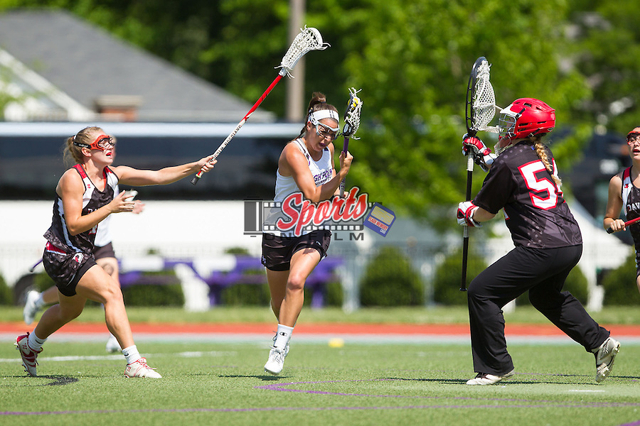 Kendyl Gardner (5) of the High Point Panthers on the attack during second half action against the Davidson Wildcats at Vert Track, Soccer & Lacrosse Stadium on May 4, 2014 in High Point, North Carolina.  The Panthers defeated the Wildcats 11-6 to capture their second Big South Conference Championship in a row.   (Brian Westerholt/Sports On Film)