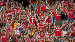 Chinese fans of Arsenal FC during the pre-season Asian Tour friendly match against Kitchee FC at the Hong Kong Stadium on July 29, 2012. Photo by Victor Fraile / The Power of Sport Images