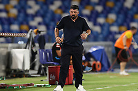 Gennaro Gattuso coach of SSC Napoli<br /> during the Serie A football match between SSC  Napoli and SS Lazio at stadio San Paolo in Naples ( Italy ), August 01st, 2020. Play resumes behind closed doors following the outbreak of the coronavirus disease. <br /> Photo Cesare Purini / Insidefoto