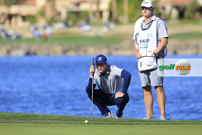 Hudson Swafford (USA) on the 18th green during Saturday's Round 3 of the 2017 CareerBuilder Challenge held at PGA West, La Quinta, Palm Springs, California, USA.<br /> 21st January 2017.<br /> Picture: Eoin Clarke | Golffile<br /> <br /> <br /> All photos usage must carry mandatory copyright credit (&copy; Golffile | Eoin Clarke)