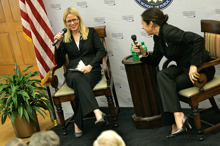 Alexis Covey-Brandt, floor director for House Majority Leader Steny H. Hoyer (D, Md.), and Catlin O'Neill, deputy director of floor operations for House Speaker Nancy Pelosi (D, Calif.), talk to the Clinton School of Public Service Monday, Mar. 8, 2010 in Little Rock, Arkansas.