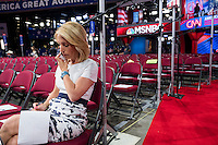 Dana Bash is CNN's Chief Political Correspondent. She is seen here on the delegate floor of the Republican National Convention making phone calls in preparation for the day's coverage in the Quicken Loans Arena in Cleveland, Ohio, on Thurs., July 21, 2016. The network's coverage of the the election is called America's Choice 2016.