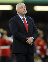 Wales' Head Coach Warren Gatland during the pre match warm up<br /> <br /> Photographer Ian Cook/CameraSport<br /> <br /> Under Armour Series Autumn Internationals - Wales v Scotland - Saturday 3rd November 2018 - Principality Stadium - Cardiff<br /> <br /> World Copyright © 2018 CameraSport. All rights reserved. 43 Linden Ave. Countesthorpe. Leicester. England. LE8 5PG - Tel: +44 (0) 116 277 4147 - admin@camerasport.com - www.camerasport.com