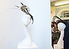 Holly Gaiman - Milliner - final collection of hats and headpieces, elegance inspired by calligraphy, on display at Kensington and Chelsea College, London, Great Britain. <br />