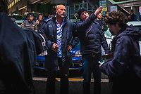Skyscraper (2018) <br /> DWAYNE JOHNSON as Will Sawyer and writer/director RAWSON MARSHALL THURBER<br /> *Filmstill - Editorial Use Only*<br /> CAP/FB<br /> Image supplied by Capital Pictures