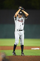 Tri-City ValleyCats relief pitcher Austin Nicely (18) during a game against the Auburn Doubledays on August 25, 2016 at Falcon Park in Auburn, New York.  Tri-City defeated Auburn 4-3.  (Mike Janes/Four Seam Images)