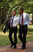 United States President Barack Obama and President Dmitry Medvedev of the Russian Federation stroll from the White House across Lafayette Park to attend a business summit at the U.S. Chamber of Commerce during the Russian president's visit to Washington, DC, Thursday, June 24, 2010..Credit: Martin H. Simon - Pool via CNP