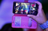 A spectator makes a video with her mobile phone <br /> Napoli 12-10-2019 Piscina Felice Scandone <br /> ISL International Swimming League <br /> Photo Andrea Staccioli/Deepbluemedia/Insidefoto