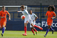 Antony Evans (Everton) of England U19 plays a pass past Tahiti Chong (21)  (Manchester United) of Holland & Jelle Duin (19) (AZ Alkmaar) of Holland during the International match between England U19 and Netherlands U19 at New Bucks Head, Telford, England on 1 September 2016. Photo by Andy Rowland.