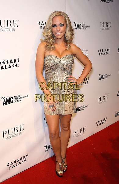 Kendra Wilkinson-Baskett.celebrates her 26th birthday at Pure Nightclub inside Caesars Palace Las Vegas, Nevada, USA..11th June 2011.full length beige silver gold strapless dress beads beaded hand on hip.CAP/ADM/MJT.© MJT/AdMedia/Capital Pictures.