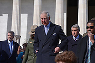 Washington, DC - March 18, 2015: His Royal Highness The Prince of Wales, accompanied by The Duchess of Cornwall, leaves the Lincoln Memorial in the District of Columbia,  March 18, 2015. The memorial tour is part of a four-day USA visit. Prince Charles has officially visited the United States 19 times since 1970. (Photo by Don Baxter/Media Images International)