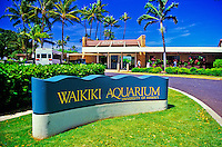 Many colorful and varied sea creatures can be found on display at the Waikiki Aquarium. This photo shows the main entrance to the aquarium.