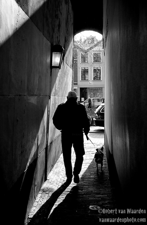 Walking through the narrow streets of Utrecht, the Netherlands.
