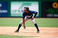 Lakeland Flying Tigers center fielder Jose Azocar (10) leads off first base during the second game of a doubleheader against the Clearwater Threshers on June 14, 2017 at Spectrum Field in Clearwater, Florida.  Lakeland defeated Clearwater 1-0.  (Mike Janes/Four Seam Images)