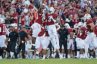 STANFORD, CA - September 8, 2018: Stanford football defeats the USC Trojans 17-3 at Stanford Stadium.