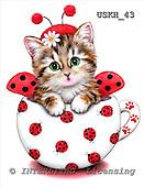 Kayomi, CUTE ANIMALS, paintings, CupKittyLadybug_M, USKH43,#AC# stickers illustrations, pinturas ,everyday