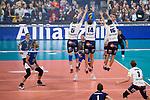 24.02.2019, SAP Arena, Mannheim<br /> Volleyball, DVV-Pokal Finale, VfB Friedrichshafen vs. SVG LŸneburg / Lueneburg<br /> <br /> Block  / Dreierblock Cody Kessel (#5 Lueneburg), Michel Schlien (#14 Lueneburg), Ryan Sclater (#15 Lueneburg) - Angriff David Sossenheimer (#5 Friedrichshafen)<br /> <br />   Foto © nordphoto / Kurth