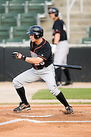 Matt Angle (25) of the Delmarva Shorebirds follows through on his swing versus the Kannapolis Intimidators at Fieldcrest Cannon Stadium in Kannapolis, NC, Wednesday, May 14, 2008.