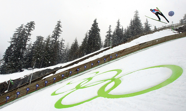 Pavel Karelin of Russia makes a practice jump during the ski jumping individual official training session at the XXI Olympic Winter Games at the Whistler Olympic Park in Whistler, British Columbia.