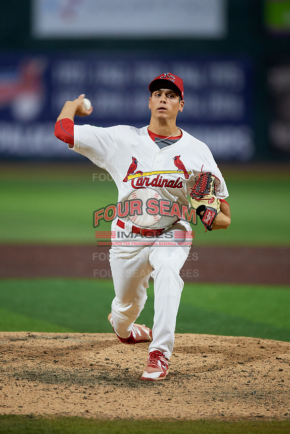 Johnson City Cardinals relief pitcher Michael Brettell (26) delivers a pitch during a game against the Danville Braves on July 28, 2018 at TVA Credit Union Ballpark in Johnson City, Tennessee.  Danville defeated Johnson City 7-4.  (Mike Janes/Four Seam Images)