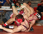 SIOUX FALLS, SD - DECEMBER 28:  David Kocer from Wagner has control of Francis Boehmer from Roosevelt in their 170 pound championship match Saturday afternoon December 28, 2013 at Lincoln High School in Sioux Falls, South Dakota. (Photo by  Dave Eggen/Inertia)