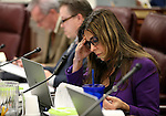 Nevada Assemblywoman Victoria Seaman, R-Las Vegas, works in committee at the Legislative Building in Carson City, Nev., on Thursday, April 2, 2015. <br /> Photo by Cathleen Allison