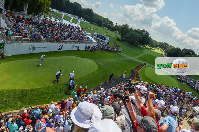 Tiger Woods (USA) watches his tee shot on 1 during 3rd round of the World Golf Championships - Bridgestone Invitational, at the Firestone Country Club, Akron, Ohio. 8/4/2018.<br /> Picture: Golffile | Ken Murray<br /> <br /> <br /> All photo usage must carry mandatory copyright credit (© Golffile | Ken Murray)