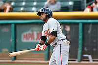 Darren Ford (9) of the Fresno Grizzlies at bat against the Salt Lake Bees at Smith's Ballpark on April 9, 2014 in Salt Lake City, Utah.  (Stephen Smith/Four Seam Images)