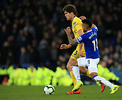 17th March 2019, Goodison Park, Liverpool, England; EPL Premier League Football, Everton versus Chelsea; Marcos Alonso of Chelsea and Theo Walcott of Everton compete for the ball