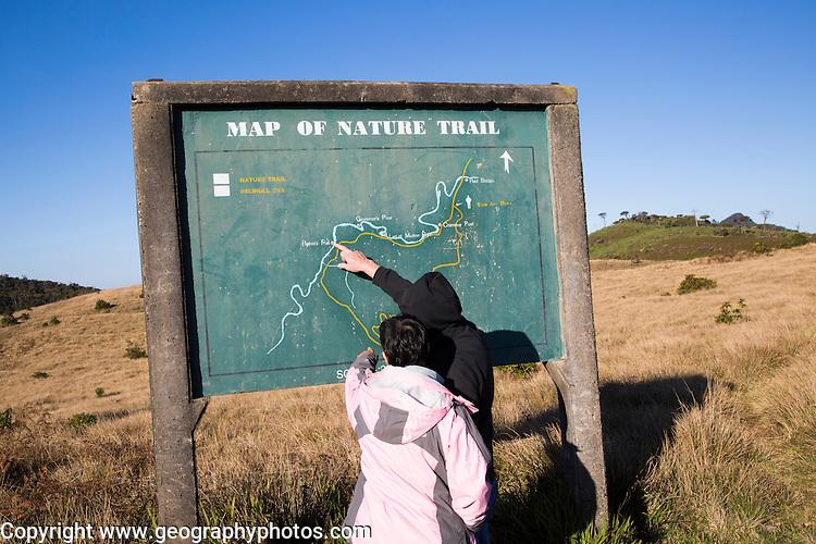 Nature trail map montane grassland and cloud forest environment Horton Plains national park, Sri Lanka, Asia