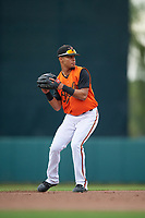 GCL Orioles shortstop Darell Hernaiz (1) throws to first base during a Gulf Coast League game against the GCL Braves on August 5, 2019 at Ed Smith Stadium in Sarasota, Florida.  GCL Orioles defeated the GCL Braves 4-3 in the first game of a doubleheader.  (Mike Janes/Four Seam Images)