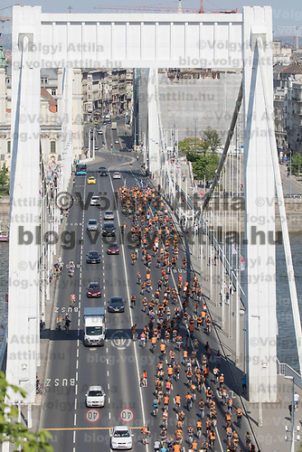 Tens of thousands of people participate the I Bike Budapest event to ride together demonstrating the importance and popularity of bicycle as a mean of everyday city transportation in Budapest, Hungary on April 22, 2018. ATTILA VOLGYI