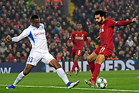 LIVERPOOL, GREAT BRITAN - NOVEMBER 5 :  Mohamed Salah forward of Liverpool battles for the ball with Jhon Lucumi defender of Genk during the UEFA Champions League match between Liverpool FC and KRC Genk on November 05, 2019 in Liverpool, Great Britan, 5/11/2019 <br /> Liverpool 5-11-2019 Anfield <br /> Liverpool - Genk <br /> Champions League 2019/2020<br /> Foto Photonews / Panoramic / Insidefoto <br /> Italy Only