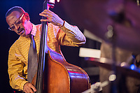 David Williams plays the bass with the Ethan Iverson Trio and Joshua Redman who perform for Thelonious Monk's 100th birthday during the Monk @ 100 festival at the Durham Fruit and Produce Company in Durham, NC Wednesday, October 25, 2017. (Justin Cook for The New York Times)