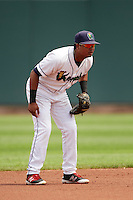 Cedar Rapids Kernels second baseman Luis Arraez (2) during a game against the Dayton Dragons on July 24, 2016 at Perfect Game Field in Cedar Rapids, Iowa.  Cedar Rapids defeated Dayton 10-6.  (Mike Janes/Four Seam Images)