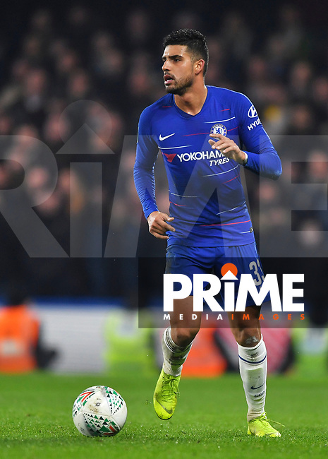 Emerson of Chelsea in action during the Carabao Cup Semi-Final 2nd leg match between Chelsea and Tottenham Hotspur at Stamford Bridge, London, England on 24 January 2019. Photo by Vince  Mignott / PRiME Media Images.