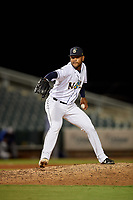 New Orleans Baby Cakes relief pitcher Jarlin Garcia (22) during a Pacific Coast League game against the Oklahoma City Dodgers on May 6, 2019 at Shrine on Airline in New Orleans, Louisiana.  New Orleans defeated Oklahoma City 4-0.  (Mike Janes/Four Seam Images)
