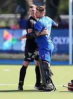 Stephen Jenness and Leon Hayward celebrate during the Olympic Qualifier Hockey match between the Blacksticks Men and Korea at TET Multisport Centre in Stratford, New Zealand on Saturday, 2 November 2019. Photo: Simon Watts / www.bwmedia.co.nz