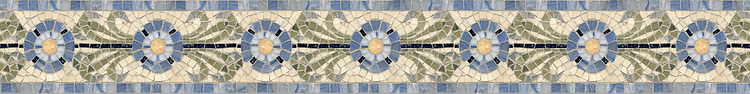 """5"""" Periwinkle border, a hand-cut mosaic shown in polished Travertine Noce, Travertine White, Celeste, Blue Macauba, and Verde Luna by New Ravenna."""