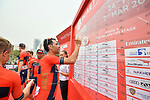 Vincenzo Nibali (ITA) Bahrain-Merida signs on before the start of Stage 6 of the 2019 UAE Tour, running 175km form Ajman to Jebel Jais, Dubai, United Arab Emirates. 1st March 2019.<br /> Picture: LaPresse/Massimo Paolone | Cyclefile<br /> <br /> <br /> All photos usage must carry mandatory copyright credit (© Cyclefile | LaPresse/Massimo Paolone)