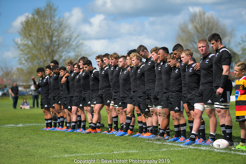 The NZ team lines up before the rugby union match between New Zealand Schools and Australia Under-18s at St Paul's Collegiate in Hamilton, New Zealand on Friday, 4 October 2019. Photo: Dave Lintott / lintottphoto.co.nz
